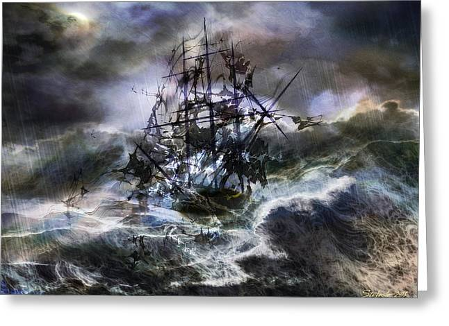 Recently Sold -  - Sea Moon Full Moon Greeting Cards - The Rage of Poseidon III Greeting Card by Stefano Popovski