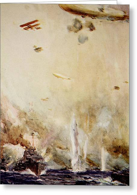Military Airplanes Paintings Greeting Cards - The Raid on Cuxhaven Greeting Card by Cyrus Cuneo