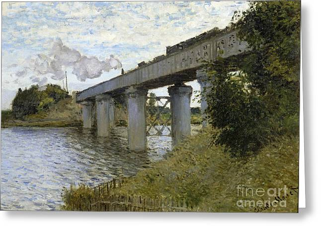 Vintage Painter Greeting Cards - The Railroad bridge in Argenteuil Greeting Card by Claude Mone