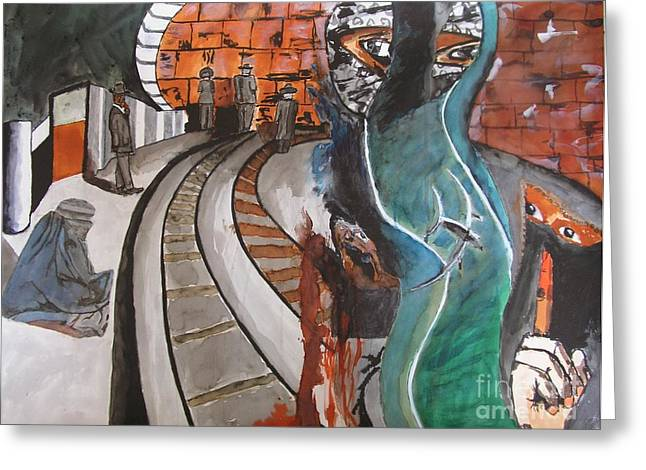 Terrorism Mixed Media Greeting Cards - The railway of the world Greeting Card by Theo Geerdens