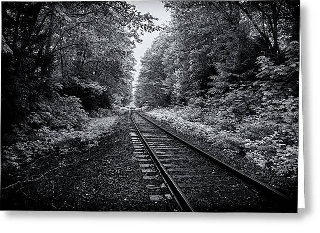 Tron Greeting Cards - The Railway Tracks Greeting Card by Alex Land