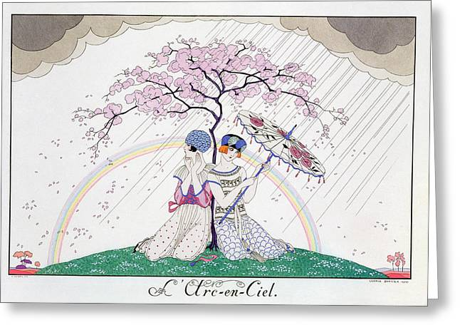 Cherry Blossoms Paintings Greeting Cards - The Rainbow Greeting Card by Georges Barbier