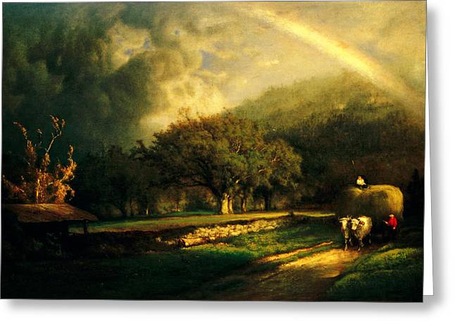 The Berkshires Greeting Cards - The Rainbow in the Berkshire Hills Greeting Card by George Inness