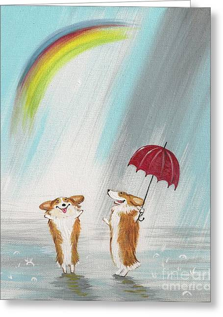 Rainbow Fantasy Art Giclee Greeting Cards - The Rainbow Greeting Card by Margaryta Yermolayeva