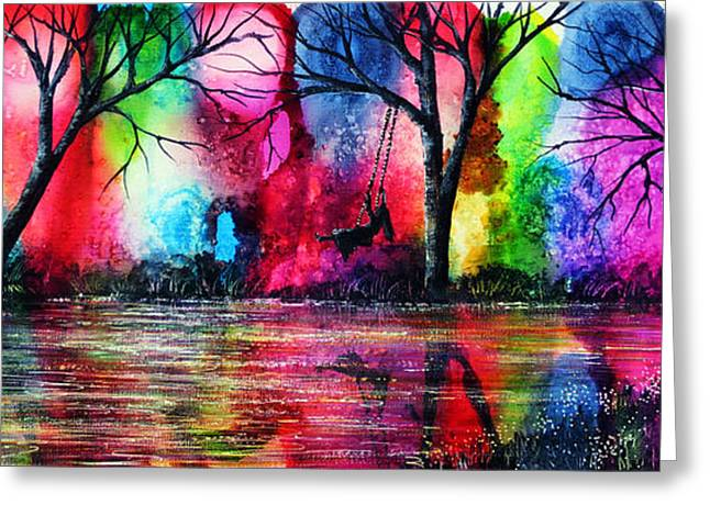 Recently Sold -  - Christmas Art Greeting Cards - The Rainbow Swing Greeting Card by Ann Marie Bone