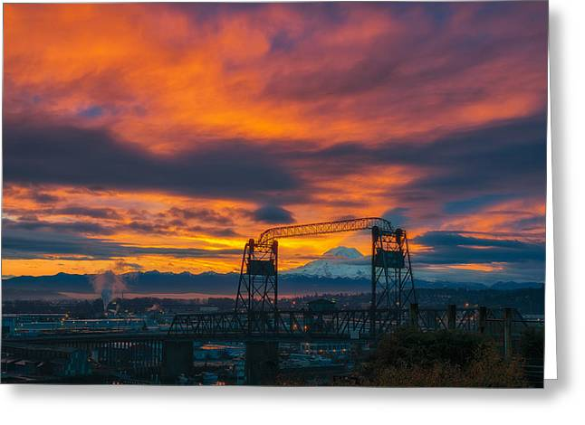 Commencement Bay Greeting Cards - The Rainier Shadow Greeting Card by Ryan Manuel