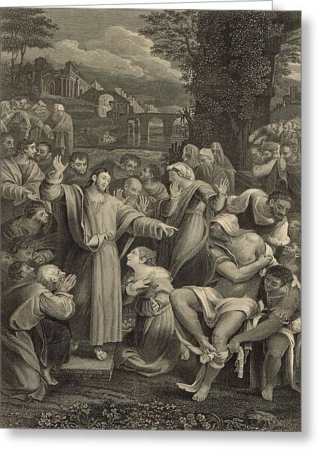 Resurrecting Drawings Greeting Cards - The Raising of Lazarus 1886 Engraving Greeting Card by Antique Engravings