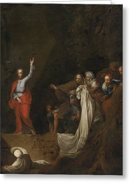 The Followers Greeting Cards - The Raising Of Lazarus Greeting Card by Celestial Images