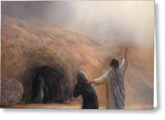 Jesus Pastels Greeting Cards - The Raising of Lazarus Greeting Card by James R C Martin