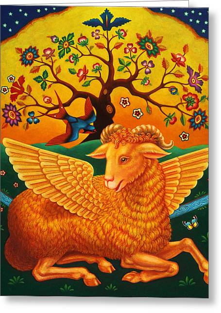 Winged Greeting Cards - The Ram With The Golden Fleece, 2011 Oils And Tempera On Panel Greeting Card by Frances Broomfield
