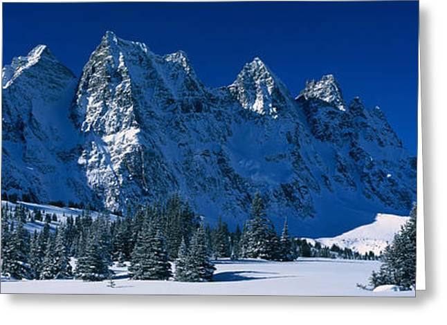 Snow Capped Greeting Cards - The Ramparts Tonquin Valley Jasper Greeting Card by Panoramic Images