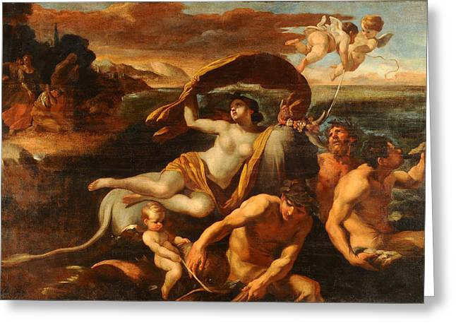 The Rape Greeting Cards - The Rape of Europa Greeting Card by Giovanni Lanfranco