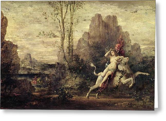 The Rape of Europa Greeting Card by Gustave Moreau