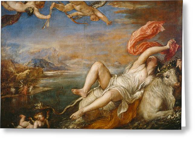 The Rape Greeting Cards - The Rape of Europa Greeting Card by Titian