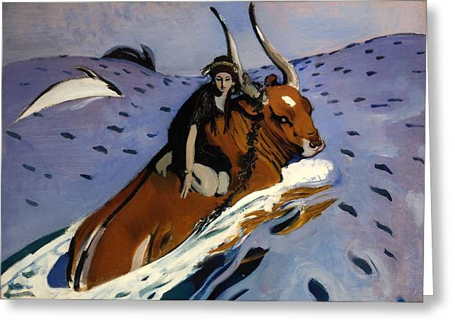 Bull Dolphin Greeting Cards - The Rape of Europa Greeting Card by Valentin Serov