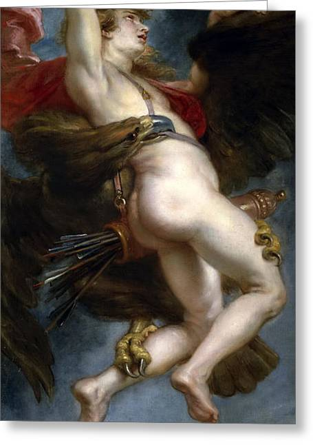 The Rape Greeting Cards - The Rape of Ganymede Greeting Card by Peter Paul Rubens