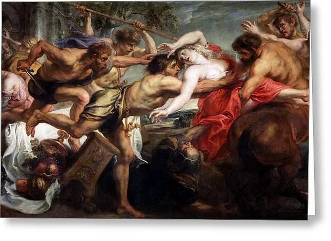 The Rape Greeting Cards - The Rape of Hippodamia Greeting Card by Peter Paul Rubens and Workshop
