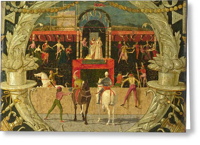 The Rape Greeting Cards - The Rape of the Sabines after the signal Greeting Card by Domenico Morone