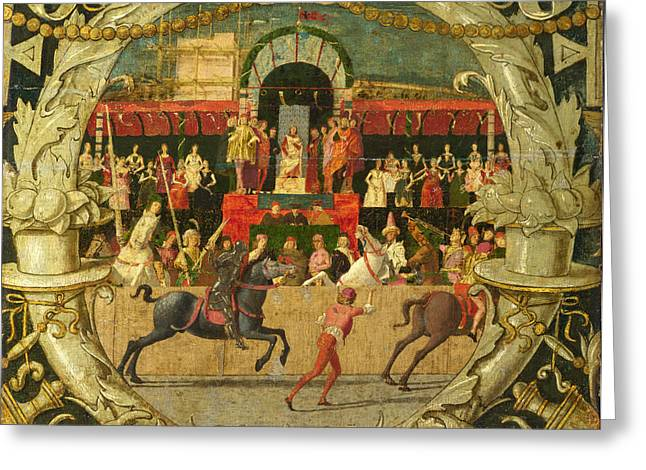 The Rape Greeting Cards - The Rape of the Sabines before the signal  Greeting Card by Domenico Morone