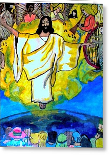 Scripture Pastels Greeting Cards - The Rapture  Greeting Card by Jo-Ann Hayden