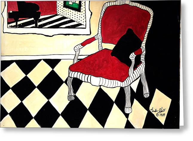 Checkerboard Floor Greeting Cards - The Raspberry Chair Greeting Card by Linda Holt