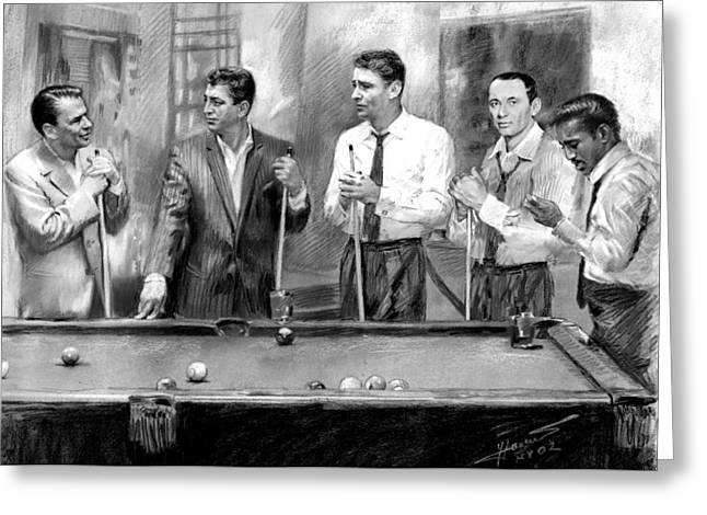 The Drawings Greeting Cards - The Rat Pack Greeting Card by Viola El