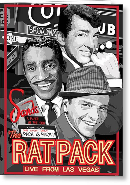 Frank Sinatra Posters Greeting Cards - The Rat Pack Poster Greeting Card by Dagmara Czarnota