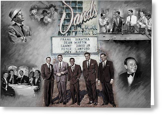 Frank Sinatra Greeting Cards - The Rat Pack Greeting Card by Viola El
