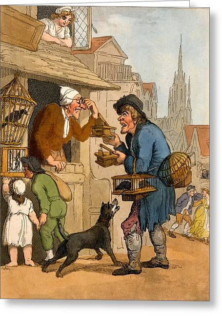 Examining Greeting Cards - The Rat Trap Seller From Cries Greeting Card by Thomas Rowlandson