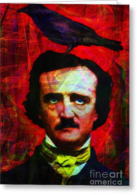 Mustache Greeting Cards - The Raven 20140118 Greeting Card by Wingsdomain Art and Photography