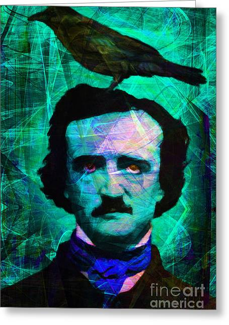 Mustache Digital Art Greeting Cards - The Raven 20140118p168 Greeting Card by Wingsdomain Art and Photography