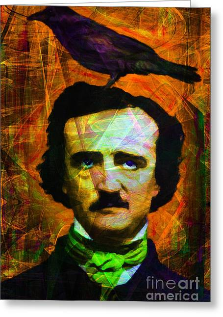 Mustache Digital Art Greeting Cards - The Raven 20140118p28 Greeting Card by Wingsdomain Art and Photography