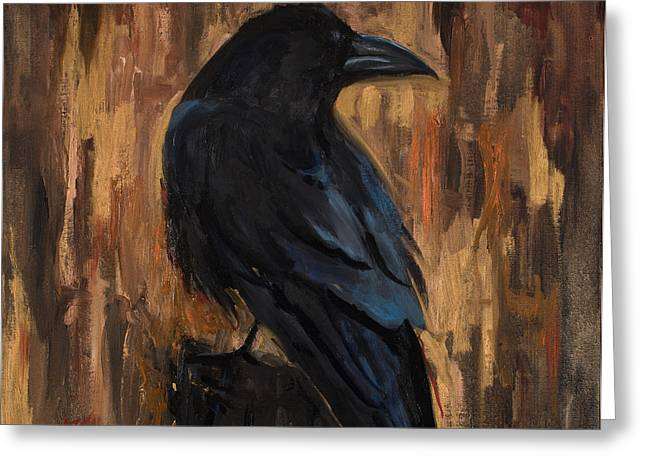 The Raven Greeting Card by Billie Colson