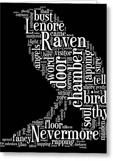 Word Cloud Greeting Cards - The Raven by Edgar Allan Poe Word Cloud Greeting Card by Philip Ralley