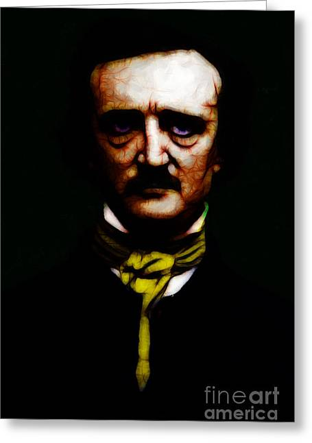 Mustache Greeting Cards - The Raven - Edgar Allan Poe Greeting Card by Wingsdomain Art and Photography