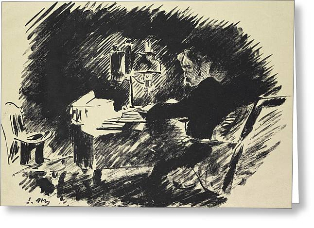 Ghost Story Greeting Cards - The Raven Greeting Card by Edouard Manet