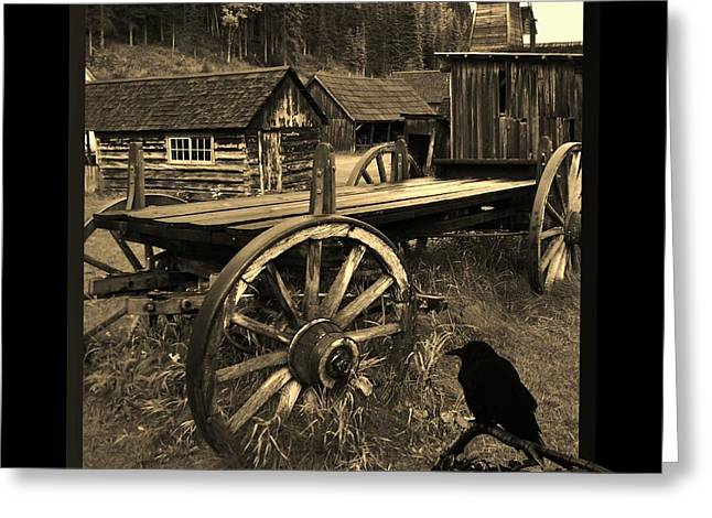 Barkerville Greeting Cards - The Raven Flies Straight Greeting Card by Barbara St Jean