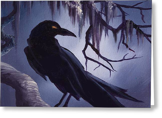 Gothic Mansion Greeting Cards - The Raven Greeting Card by James Christopher Hill