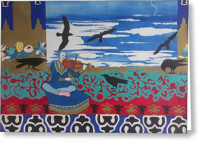 Turquoise Violin Greeting Cards - The Raven Musicologist Greeting Card by Karim Lachheb