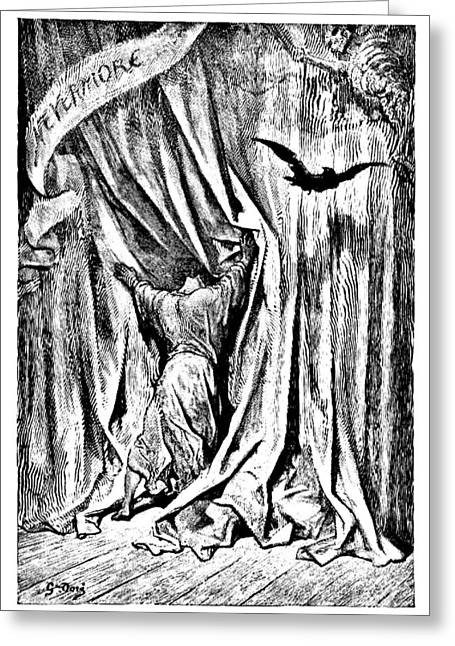 The Ravens Greeting Cards - The Raven Nevermore Illustration Engraving Greeting Card by