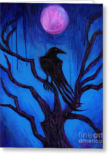 The Raven Nevermore Greeting Card by Roz Abellera Art