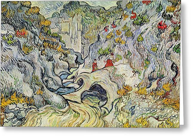 Saint-remy De Provence Greeting Cards - The ravine of the Peyroulets Greeting Card by Vincent van Gogh