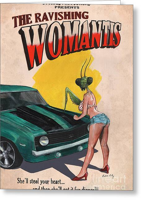 Horror Car Greeting Cards - The Ravishing Womantis Greeting Card by Richardson Comly