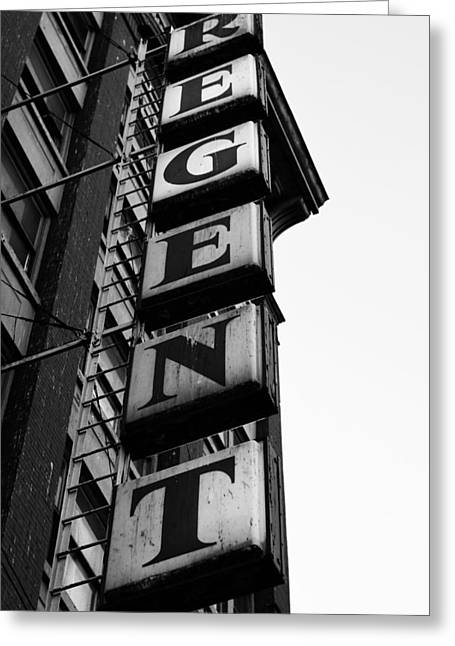 Hotel Window Greeting Cards - The Re Gent Greeting Card by Jerry Cordeiro