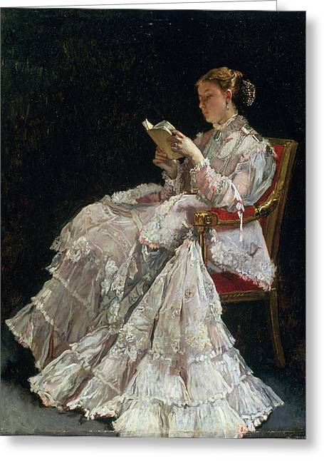 Concentration Greeting Cards - The Reader, C.1860 Greeting Card by Alfred Emile Stevens