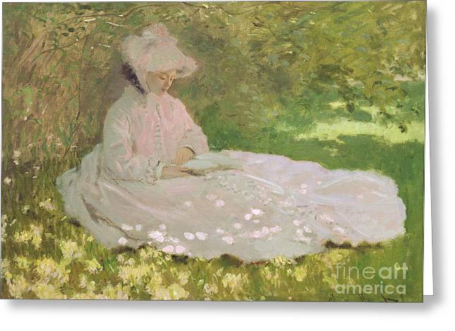 Contemplation Paintings Greeting Cards - The Reader  Greeting Card by Claude Monet