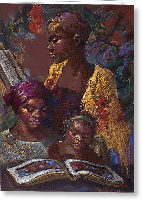 African-americans Pastels Greeting Cards - The Readers Greeting Card by Ellen Dreibelbis