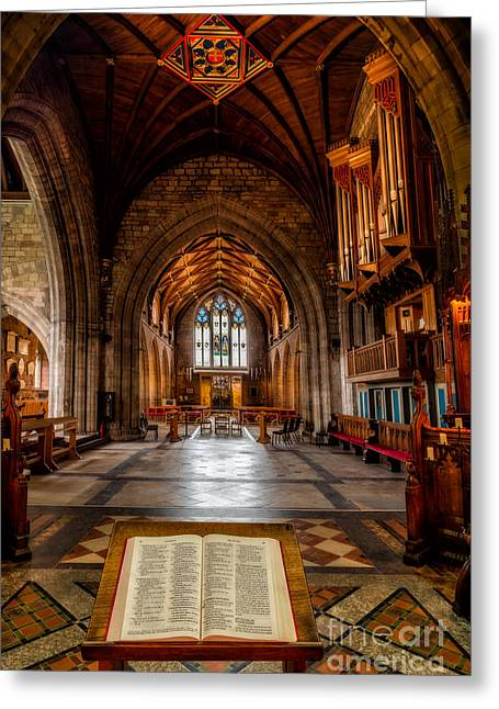 Vaulted Ceilings Greeting Cards - The Reading Room Greeting Card by Adrian Evans