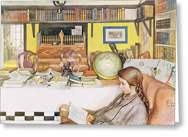 Globe Paintings Greeting Cards - The Reading Room, Pub. In Lasst Licht Greeting Card by Carl Larsson