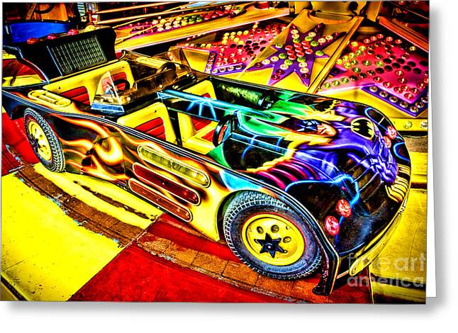 Amusements Greeting Cards - The Real Batmobile Greeting Card by Olivier Le Queinec